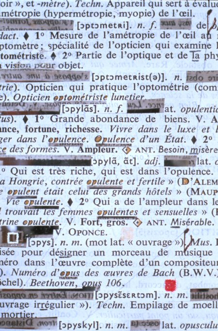 Rober Racine, Page-Miroir : Opticien - 1316 - Or, 1995, (detail)