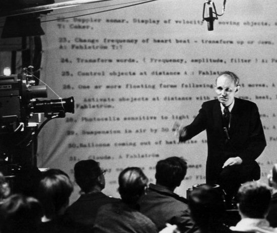 Billy Klüver lectures in a Toronto television studio in 1967