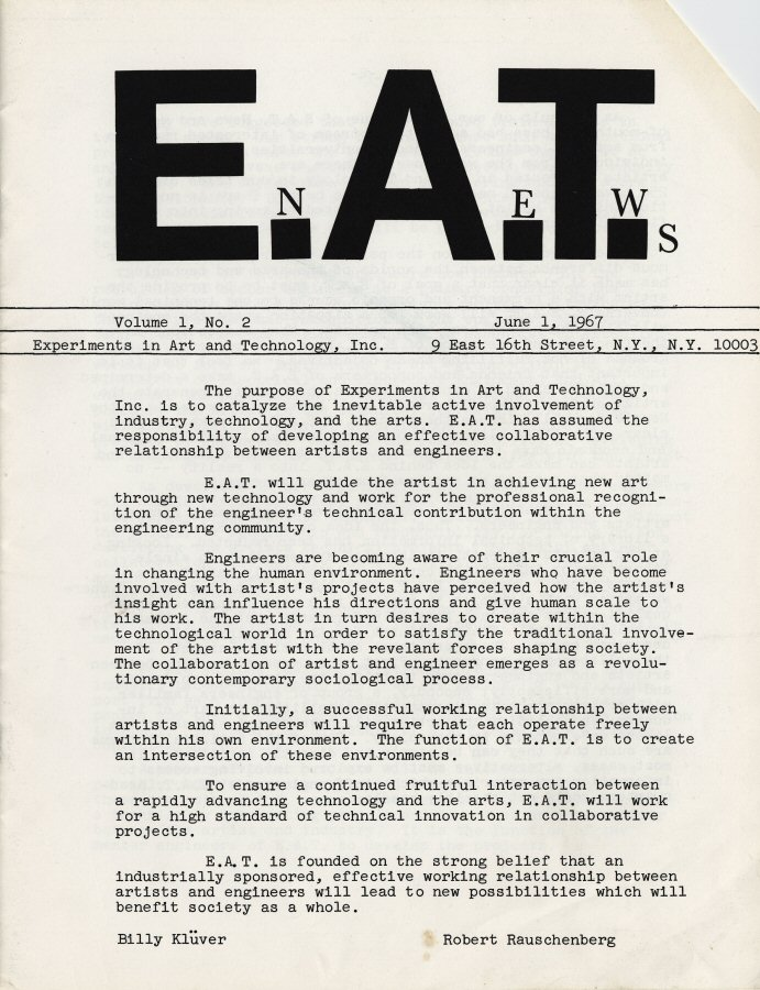 E.A.T. news. — Vol. 1, no. 2 (June 1, 1967)