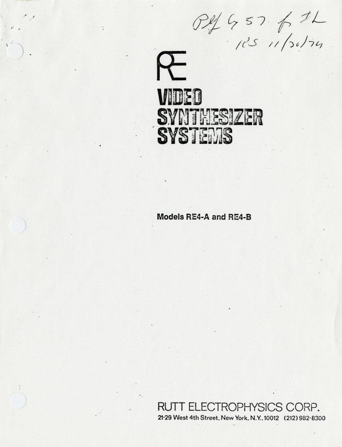 RE video synthesizer systems : models RE4-A and RE4-B