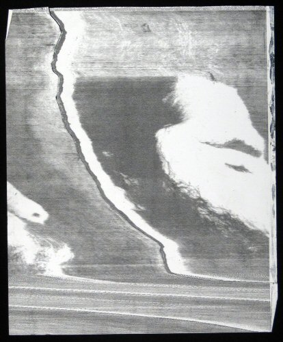 "Process: Telecopier (Xerox) (Ric Puls Stretched in Time) / Sonia Landy Sheridan, c.1972, 1 sheet: photocopy on paper and collage ; 22 X 28 cm. Made using the ""Telecopier"" by Xerox. The sounds generated during the transfer of the image from one machine to the other were taped and replayed over one of the Telecopiers. It then became possible to adjust the volume and in doing so modify the appearance of the image when it came out of the machine."