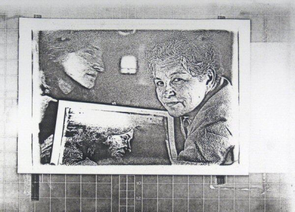 "[Process: Haloid Xerox (portraits of Sonia Sheridan and Diane Kirkpatrick)] / Sonia Landy Sheridan, c.1970s, 1 sheet: impression on paper ; 22 X 28 cm. Print made using the copier ""Haloid"" by Xerox."