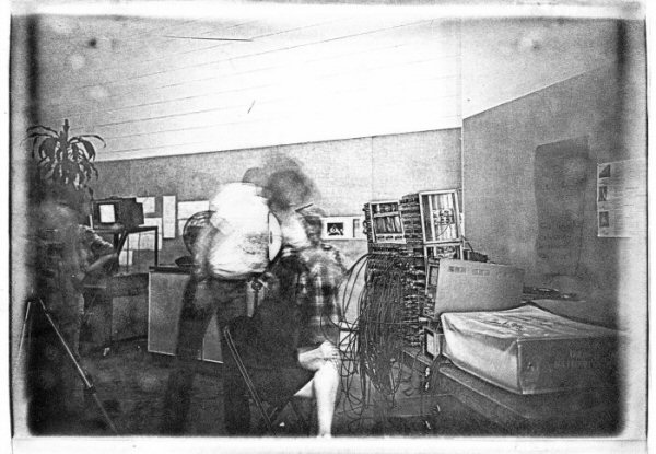 "Process: Haloid Xerox / Sonia Landy Sheridan, ""Lou Levinson operating the Sandin Image Processor"", 1977, 1 sheet: impression on paper ; 25 X 35 cm. Print made using the copier ""Haloid"" by Xerox."