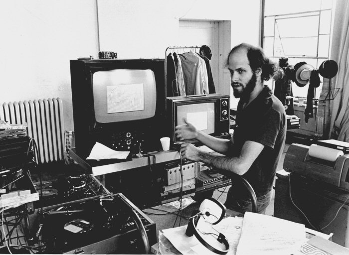 Jeffrey Schier in the Vasulkas' Buffalo studio, circa 1978