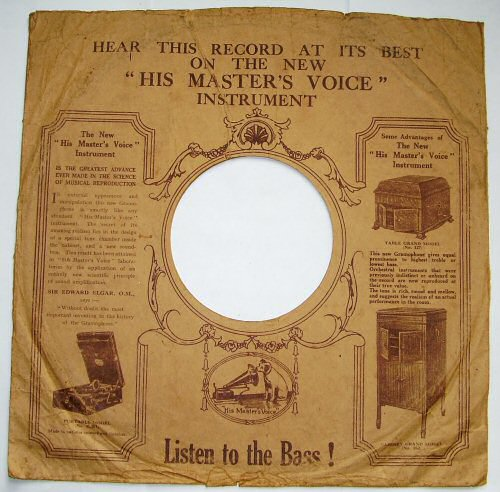 His Master's Voice paper sleeve (ca 1950)