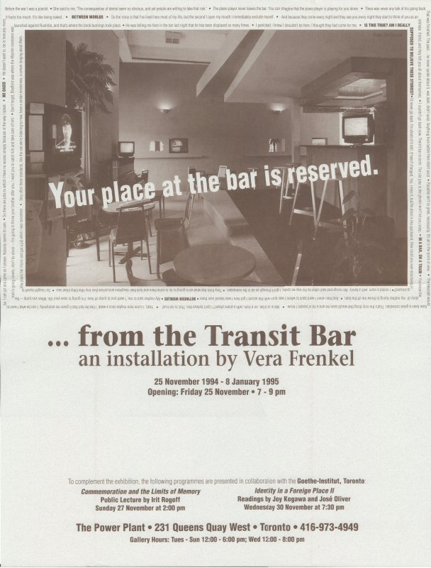 Vera Frenkel, ...from the Transit Bar (1992)